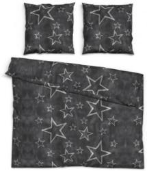 Baumwoll Seersucker Bettwäsche Sterne anthrazit/silber 200 x 200 cm