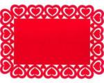 Pagro Platzmatte mit Herzrand Eckig aus Filz rot