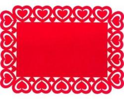 Platzmatte mit Herzrand Eckig aus Filz rot