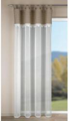 Kombivorhang Palma weiß Karo-Besatz beige ca. 135 x 245 cm