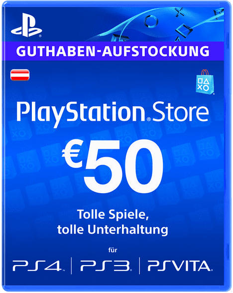 PlayStation Store Guthaben-Aufstockung 50 EUR [PS4, PS3, PS Vita PSN Code - österreichisches Konto]