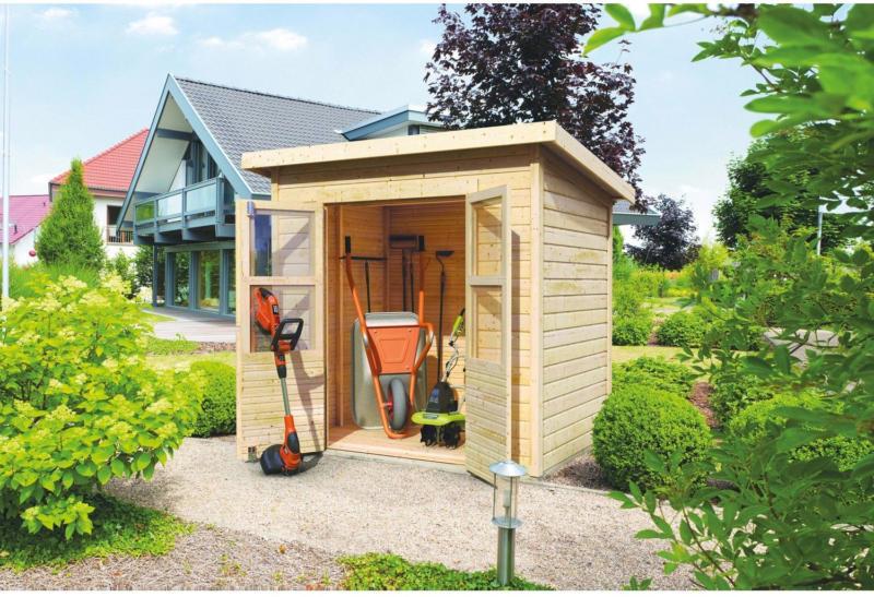 Karibu Holz-Gartenhaus Neuenburg 1 Natur 208 cm x 150 cm