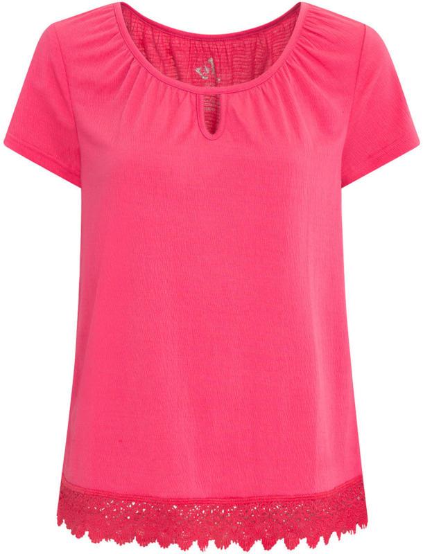 Damen T-Shirt mit Spitze am Saum (Nur online)
