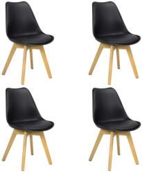 Stuhl-Set Woody 4-Er Set Schwarz