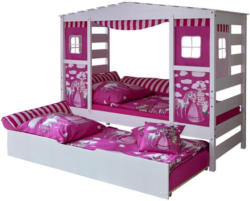 Hausbett Lio 90x200 cm Weiß/Pink