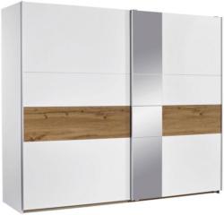 Schwebetürenschrank mit Spiegel 261cm Korbach, Weiß Dekor