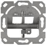 Saturn Frontplatte für Keystone Module, 2x RJ45, 80x80 mm + Zentralplatte, deutsches Layout, weiß