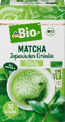 dmBio Grüner Tee, Matcha Sticks, japanischer Grüntee (10 x 2 g)