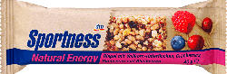 Sportness Energie-Riegel Natural Energy mit Vollkorn-Haferflocken, Cranberries, Himbeeren & Blaubeeren