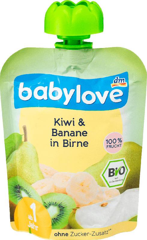 babylove Quetschbeutel Kiwi & Banane in Birne ab 1 Jahr