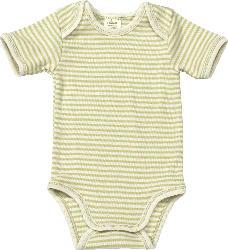 ALANA Baby Body, Gr. 74/80, in Bio-Schurwolle, Bio-Baumwolle und Seide, grün, natur, für Mädchen und Jungen