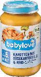 dm-drogerie markt babylove Babymenü Karotten mit Süßkartoffeln und Rind ab dem 5. Monat