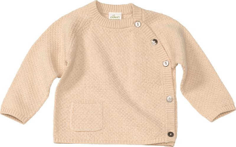 ALANA Baby Pullover, Gr. 62, in Bio-Baumwolle und Leinen, beige, für Mädchen und Jungen