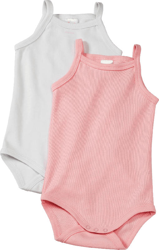 PUSBLU Doppelpack Baby Achselbody, Gr. 98/104, in Bio-Baumwolle, rosa, weiß