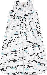 PUSBLU Kinder Schlafsack, 130 cm, in Bio-Baumwolle, weiß, blau, für Mädchen und Jungen