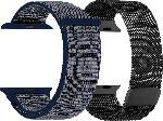 Saturn Armband Bundl für Apple Watch (42/44 mm) Mesh & Nylon, schwarz/blau