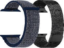 Armband Bundl für Apple Watch (42/44 mm) Mesh & Nylon, schwarz/blau