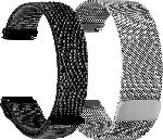 Saturn Armband Bundle für Fitbit Versa Mesh & Nylon Loop, silber/dunkelgrau