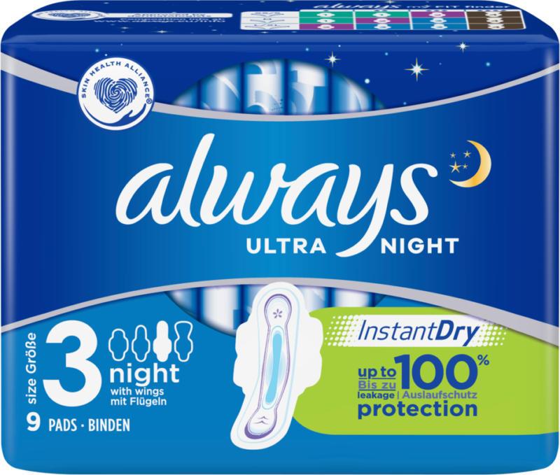 Always serviettes hygiéniques Ultra Night avec ailettes 9 pièces -