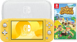 Switch Lite Yellow + Animal Crossing New Horizons + Switch Lite Tasche & Schutzfolie
