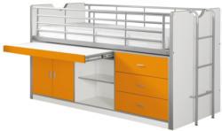 Hochbett Bonny 90x200 cm Weiß/Orange