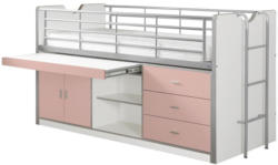 Hochbett Bonny 90x200 cm Weiß/Rosa