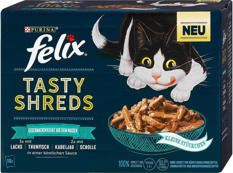 felix Tasty Shreds Katzenfutter Geschmacksvielfalt aus dem Wasser