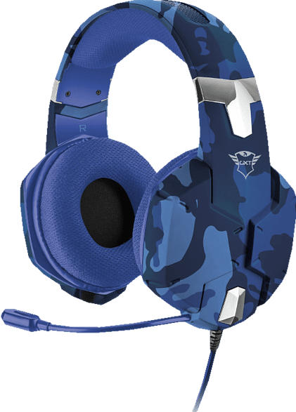TRUST GXT 322B Carus Gaming Headset, Blau/Camouflage