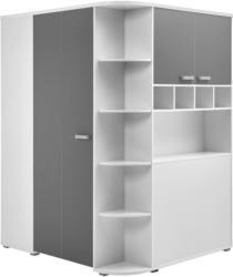 Eckschrank Yoris B: 146,4 cm Weiß/Grau