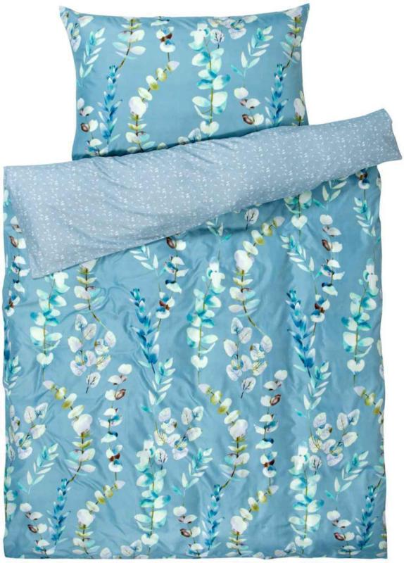 Biancheria da letto Micro azzurro con ramoscelli di fiori -  (Prezzo per le dimensioni più piccole)