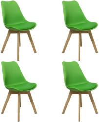 Stuhl-Set Woody Limette mit Sitzauflage, 4er-Set