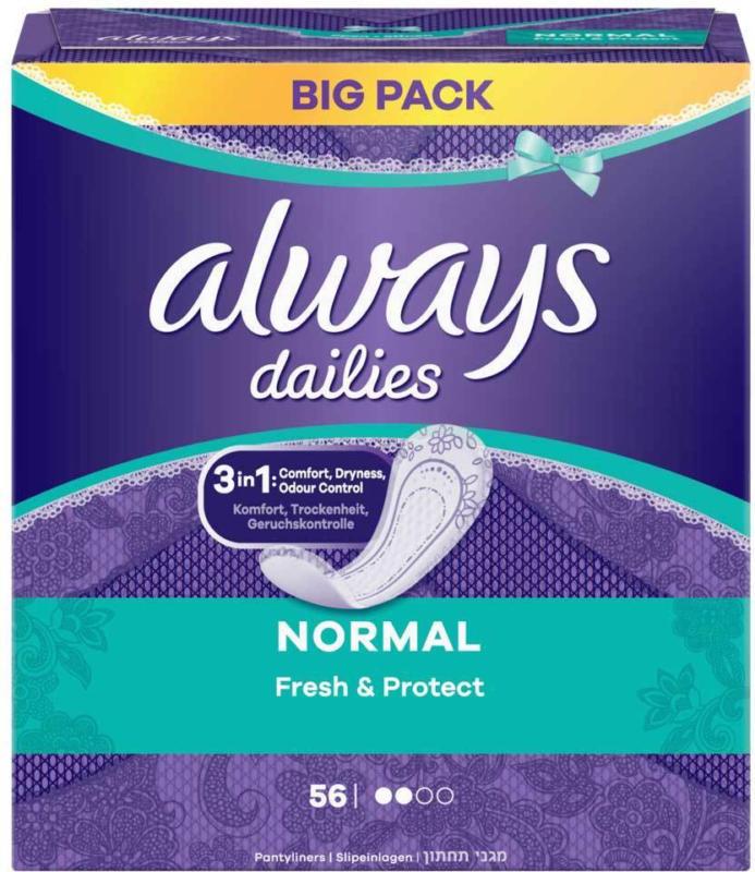 Always Slipeinlage Fresh & Protect Normal Vorteilspack 56 Stück -