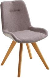 Stuhl in Holz, Textil Eichefarben, Cappuccino
