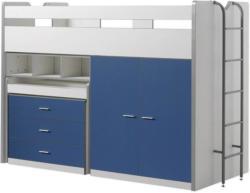Hochbett Bonny 90x200 cm Weiß/Blau