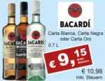 Getränkehaus Krause & Vinothek Weinblatt Bacardi Carta Blanca, Oro oder Negra - bis 30.04.2021