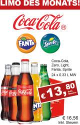 Coca Cola, Coca Cola light, Coca Cola Zero, Fanta oder Sprite