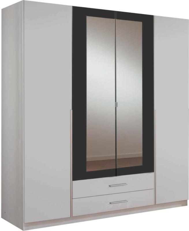 Armoire à portes battantes Kuga, 4 portes, blanc/graphite -