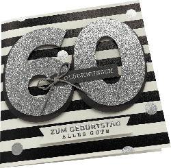 CACTUS Grußkarte Zahlen Geburtstag 60 Handmade