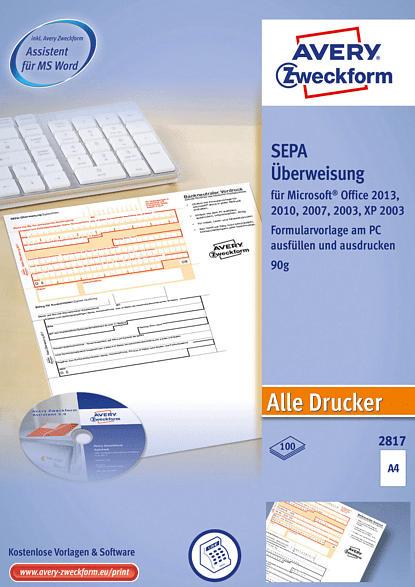 AVERY ZWECKFORM 2817 Sepa-Überweisung inkl. Software  DIN A4 , weiß