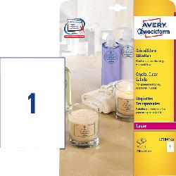 AVERY ZWECKFORM L7784-25 Kristallklare Etiketten 210 x 297 mm 210 x 297 mm A4  25 Etiketten / 25 Bogen