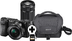 SONY Alpha 6000 ZOOM+TELEZOOM KIT (ILCE-6000Y) Systemkamera 24.3 Megapixel mit Objektiv 16-50 mm, 55-210 mm , 7.6 cm Display  , WLAN