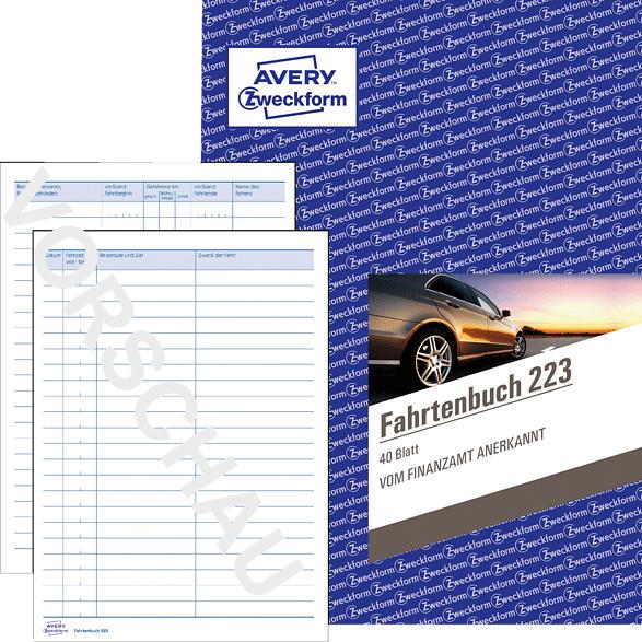AVERY ZWECKFORM 223-3 Fahrtenbuch DIN A5 für Finanzamt geeignet 3er Pack, weiß