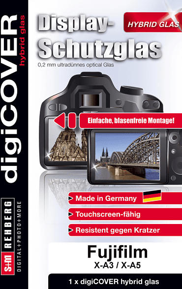 S+M digiCOVER Hybrid Glas Monitor Schutz FujiFilm XA3 Schutzglas, Display Schutz für Kamera Monitor, Transparent