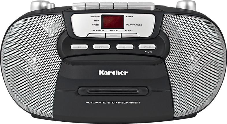 KARCHER RR 5040-B Oberon Boombox mit Kassettendeck Radio (Schwarz)