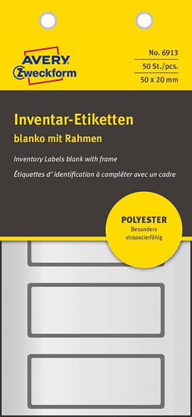 AVERY ZWECKFORM 6913 Inventar-Etiketten 50 x 20 mm 50 x 20 mm   50 Etiketten / 10 Bogen