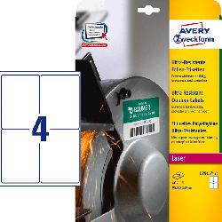 AVERY ZWECKFORM L7915-10 Ultra-Resistente Folienetiketten 99,1 x 139 mm 99,1 x 139 mm A4  40 Etiketten / 10 Bogen