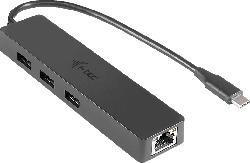 I-TEC C31GL3SLIM USB HUB mit Ethernet Adapter, Schwarz