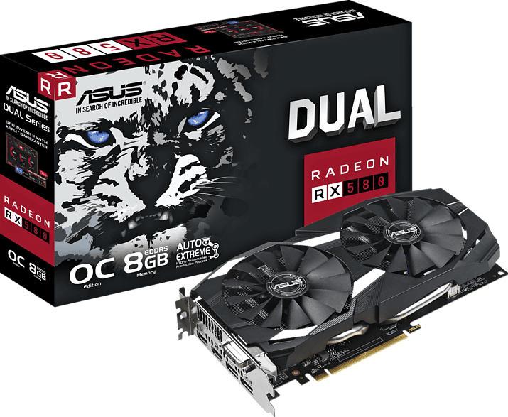 ASUS Radeon RX 580 Dual 8GB OC (90YV0AQ1-M0NA00) (AMD, Grafikkarte)
