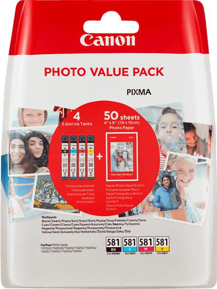CANON CLI-581 Photo Value Pack inkl. 50 Blatt Canon Fotopapier PP-201 Tintenpatrone Mehrfarbig (2106C005AA)