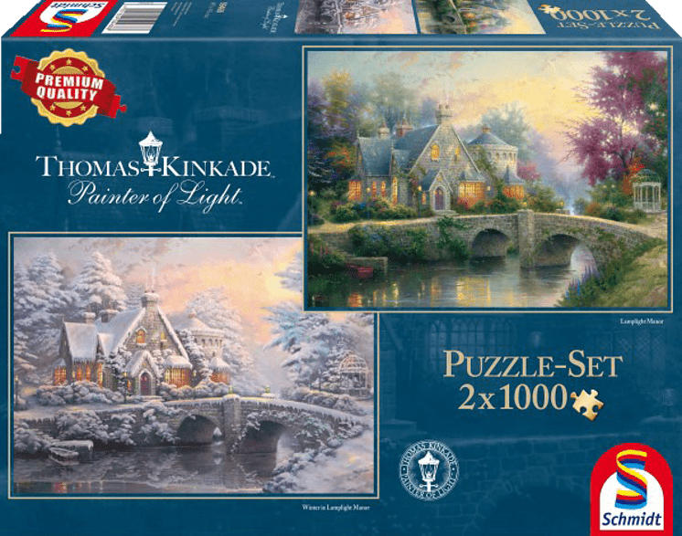 SCHMIDT SPIELE (UE) Lamplight Manour & Winter in Lamplight Manour Puzzle, Mehrfarbig